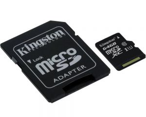Карта памяти Kingston Canvas Select MicroSD SDXC 64Gb Class 10 + адаптер (SDCS/64GB)
